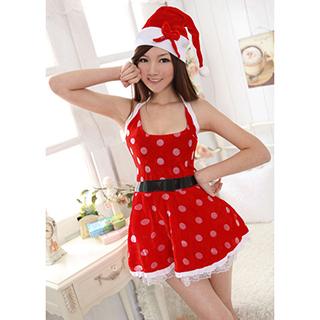 クリスマス サンタコスプレ DS舞台衣装 バーの歌手衣装 パーティー衣装 赤色 セクシー服 フリーサイズ サンタドレス サンタ 衣装 クリスマス コスチューム 仮装グッズ コスプレ衣装