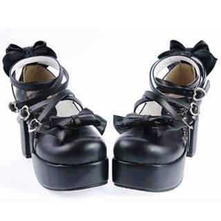 ゴスロリ靴 リボンヒール ゴスロリ ロリータ パンク コスプレ コスチューム メイド ゴスロリ靴