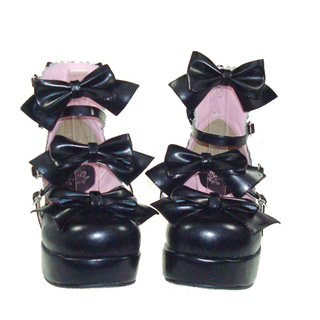 ゴスロリ靴 ロリター靴 リボンパンプス ゴスロリ ロリータ パンク コスプレ コスチューム メイド ゴスロリ靴