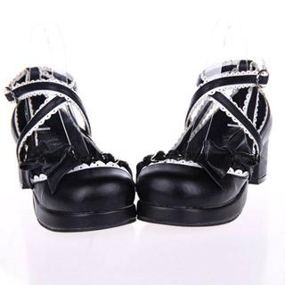 ゴスロリ靴 クロスリボンパンプス ゴスロリ ロリータ パンク コスプレ コスチューム メイド ゴスロリ靴