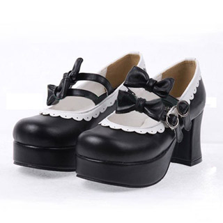 ゴスロリ靴 ロリター リボンパンプス ゴスロリ ロリータ パンク コスプレ コスチューム メイド ゴスロリ靴