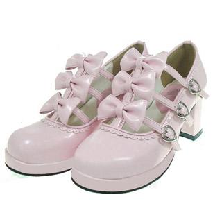 ゴスロリ靴 ロリター リボンパンプス ゴスロリ ロリータ ピンク パンク コスプレ コスチューム メイド ゴスロリ靴