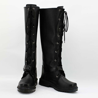 盗墓筆記 黒メガネ ブラック 合皮 ゴム底 低ヒール コスプレ靴