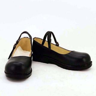デート・ア・ライブ 時崎 狂三(ときさき くるみ) ブラック 合皮 ゴム底 低ヒール コスプレ靴