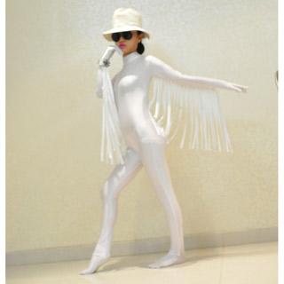 通気 柔らかい 全身白 鳥の翼 ライクラ 帽子ない 全身タイツ
