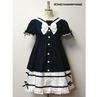 ロリィタ/ロリータワンピース セーラー 半袖 蝶結び ブラックとホワイト 2色あり 高級ワンピース