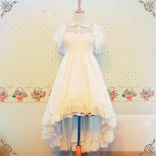 お姫様 非対称ワンピース レース ホワイト ロリィタ/ロリータ ゴスロリ