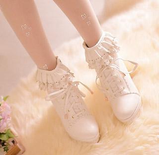 スカラップ スウィート ハイヒール ホワイト/ピンク/杏色 3色選択可 ショートブーツ オリジナル靴