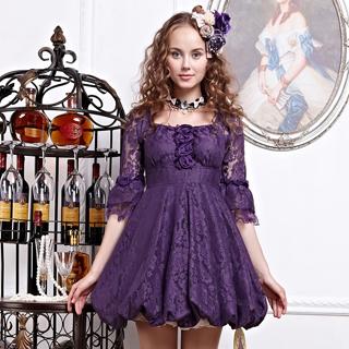 お姫様 高級ワンピース 半袖 紫色と杏色 2色選択可 ロリィタ/ロリータ ゴスロリ