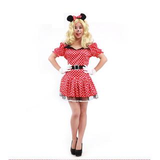 ハロウィン 大人仮面舞踏会衣装 ミッキーマウス 水玉 女性衣装 フリーサイズ コスチューム