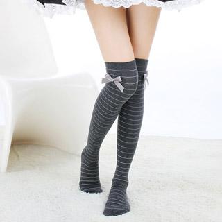 ロリータ靴下 スクール風 スイート 黒色/灰色 2色選択可 ストッキング ゴスロリ ソックス