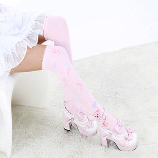 ロリータ靴下 熊のプリント ホワイト/ピンク 2色選択可 ストッキング ゴスロリ ソックス