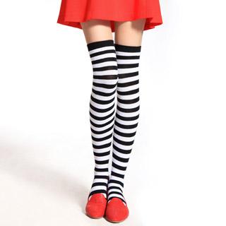 ロリータ靴下 縞模様 ピンク/ブルー/ブラック 3色選択可 ストッキング ゴスロリ ソックス