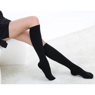 ロリータ靴下  ハイソックス ブラック/ホワイト ストッキング ゴスロリ ソックス