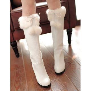 アンゴラ 裏起毛 ホワイト/ピンク 2種選択可 ハイヒール ロングブーツ オリジナル靴
