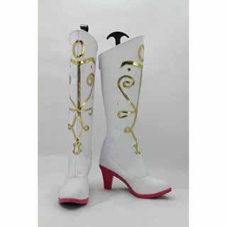 アナと雪の女王 Frozen Disney アナ(Anna) ホワイト 合皮 ゴム底 ハイヒール コスプレ靴