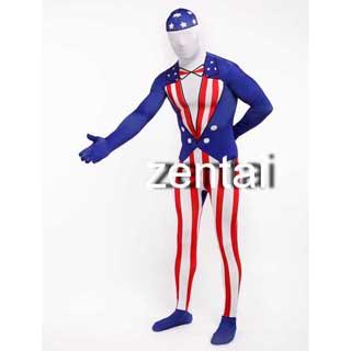 通気 柔らかい セクシー アメリカ 国旗 ライクラ 全身タイツ