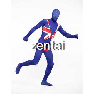 通気 柔らかい セクシー イギリス 国旗 ライクラ 全身タイツ