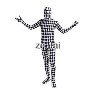 通気 柔らかい セクシー 白黒チェック ライクラ 全身タイツ