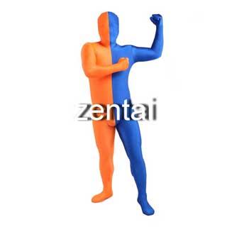 通気 柔らかい セクシー ブルーとオレンジ ライクラ 全身タイツ