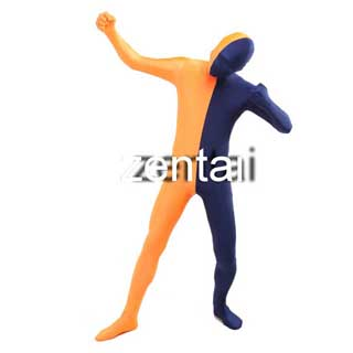 通気 柔らかい セクシー 紺色とオレンジ ライクラ 全身タイツ