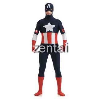 通気 柔らかい セクシー キャプテン・アメリカ ライクラ ハロウィン 全身タイツ