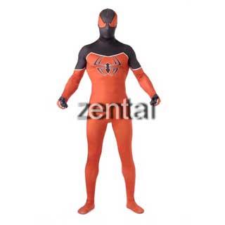 通気 柔らかい セクシー スパイダーマン ブラックとオレンジ ライクラ 全身タイツ