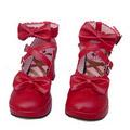 可愛い レッド 8cm 合皮 ゴム底 クロス・アンクルストラップ リボン ゴスロリ靴