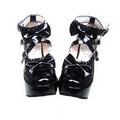 ゴスロリ靴 クロス·アンクルストラップ リボン·ハイヒール·ブラック·ピンク·ホワイト