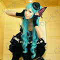 Vocaloid 初音ミク Magnet ブルー  耐熱新素材 セミロング ストレート コスプレウィッグ