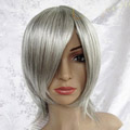 Silver Short Straight Nylon Cosplay Wig