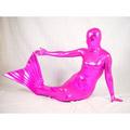 通気 柔らかい セクシー ピンク メタリック 透明人間人魚形 全身タイツ
