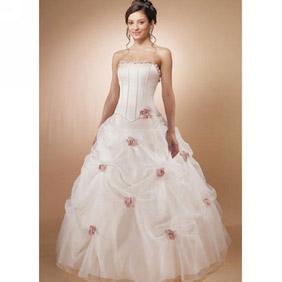 エレガント ホワイト ボール ガウン ストラップレス サテン オーガンザ ポンジー フラワー フロアレンガス ウェディングドレス