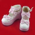 可愛い 靴 蝶結び ピンク ホワイト 合皮 ゴム底 ロリィタ/ロリータ靴