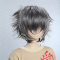 Gray Short Nylon Curly Cosplay Wig