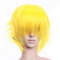 Yellow  Short Nylon Curly Cosplay Wig