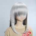 Gray Semi-long Nylon Straight Cosplay Wig