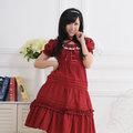 お嬢様 赤 半袖 リボン レース ロリィタ/ロリータワンピース 女性Mサイズ