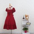 お嬢様 赤 半袖 リボン ロリィタ/ロリータワンピース