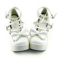 合皮 ゴム底 リボン バックル 厚底 23.5cm ゴスロリ靴 ホワイト