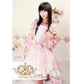 ロリィタ/ロリータ プリンセスドレス リボン 高級ワンピース プーケ ライトピンク 綿質 花裾 ゴスロリ