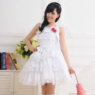 ロリィタ/ロリータジャンパースカート 超可愛い リボン ホワイト