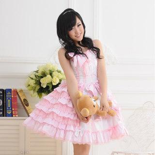 ロリィタ/ロリータジャンパースカート プリンセス リボン ピンクとホワイト    女性Mサイズ
