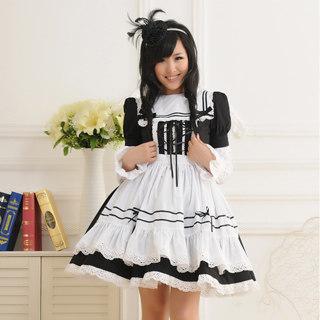 メイド服 大人気 超可愛い 長袖 レース ブラックとホワイト コスチューム   女性Mサイズ