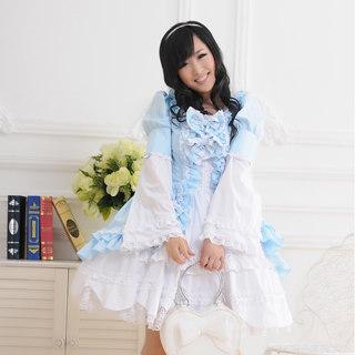 ロリィタ/ロリータワンピース プリンセス 可愛い 長袖 リボン レースフリル ブルーとホワイト    女性Mサイズ