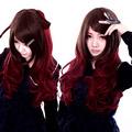 COS通用 普段着もok ファッション 斜め前髪 ダーク系 マルチカラー ロング 巻き髪 コスプレウィッグ