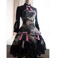 お嬢様 ブラック 長袖 リボン ゴシック服 ドレス ロリータワンピース 人気中華風 ワンピース