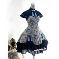 編み上げ ロリィタ/ロリータワンピース 中華風 ブルー 蝶々袖 綿質 レース 人気 ワンピース