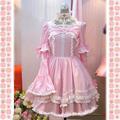 ロリィタ/ロリータワンピース ピンク ホワイト 長袖 袖取り 蝶むすび フリル 綿質