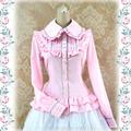 レース ロリィタ/ロリータシャツ 5色あり 長袖  糸、麻 フリル リボン